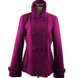 Talbots Magenta Wool Blend Double Breasted Peacoat
